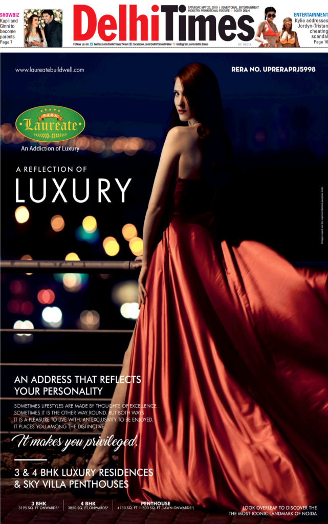 Front page advertisement in Delhi Times for Parx Laureate