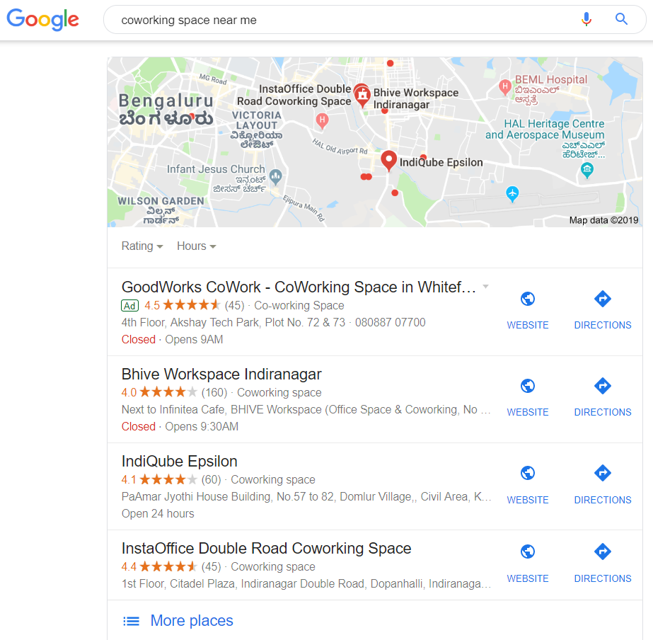 Using Google My Business for promoting coworking space