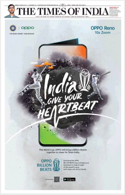 Front page advertisement in Times of India Mumbai for Oppo