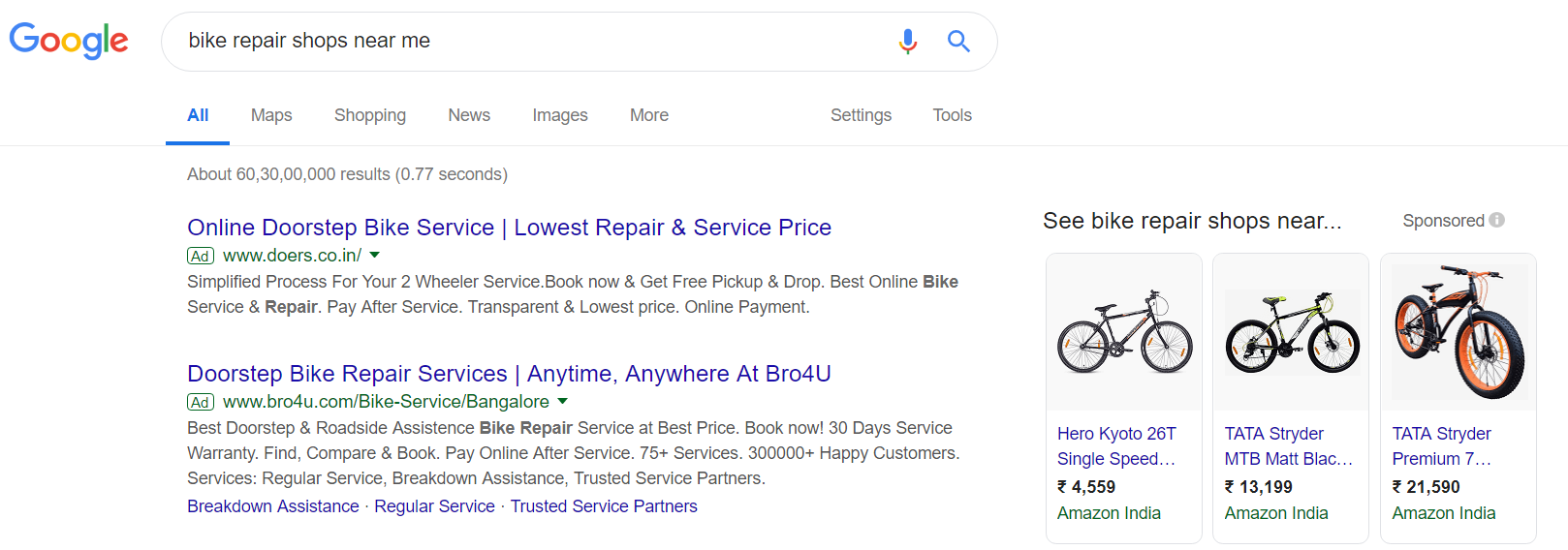 Google Search Advertising for bike servicing shops
