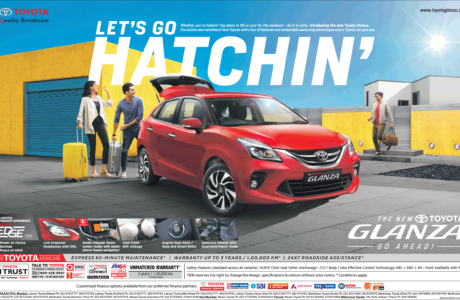 Full page advertisement in Times of India Mumbai for Toyota