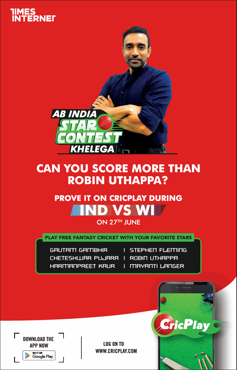 Times of India Hyderabad Advertisement for CricPlay