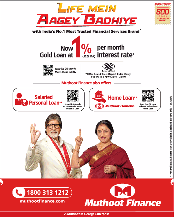 Times of India Delhi Advertisement for Muthoot Finance