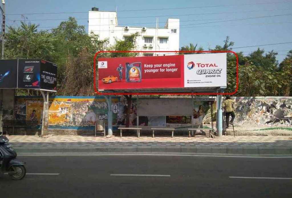 Advertising on Bus Shelter in Jubilee Hills
