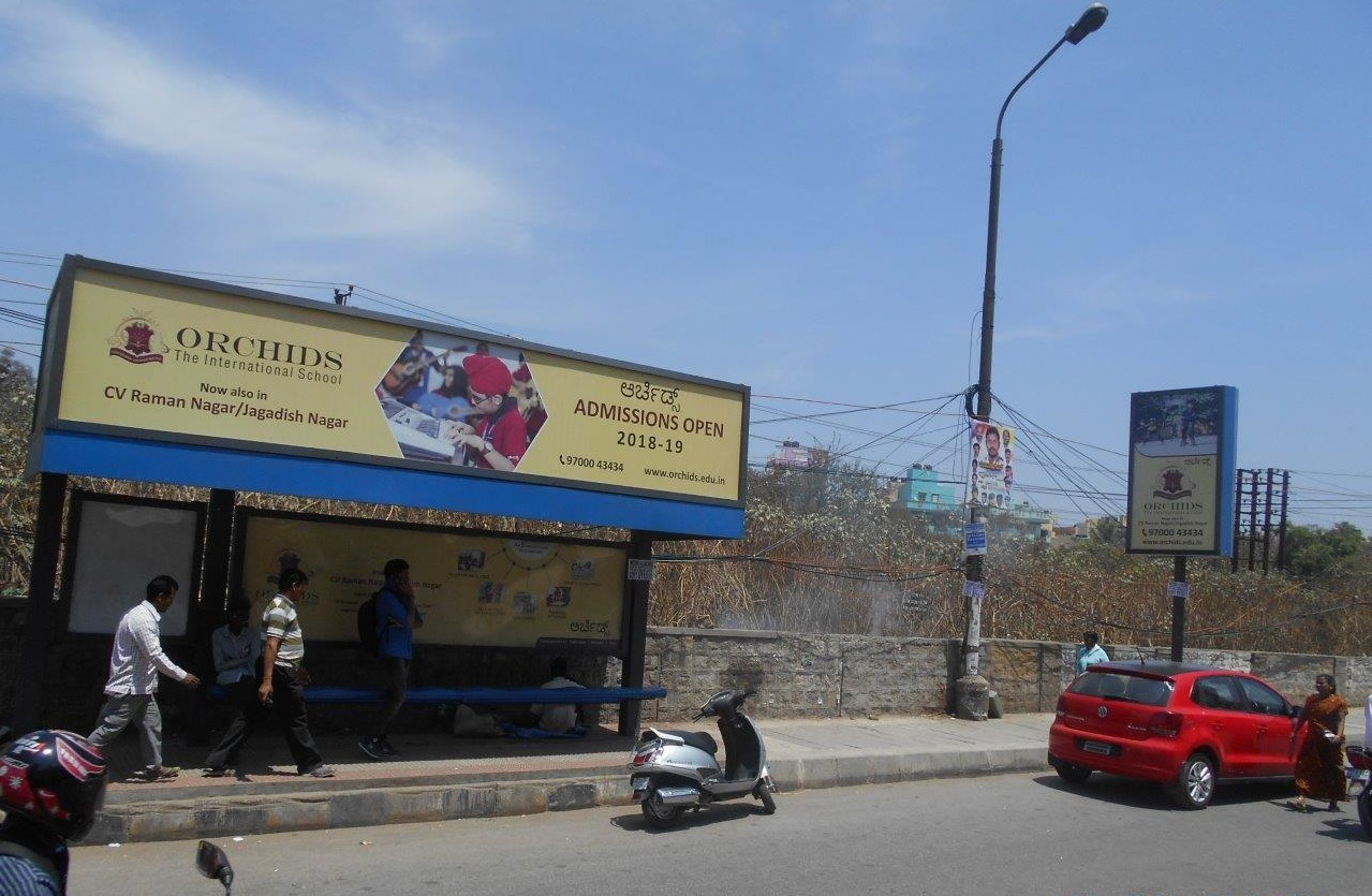 Bus shelter advertising in Marathahalli
