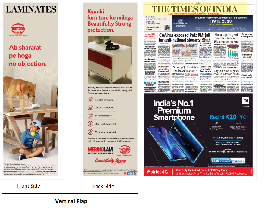 vertical Flap innovation ads on newspaper